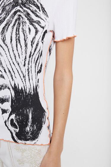 Geribbeld T-shirt met zebraprint | Desigual