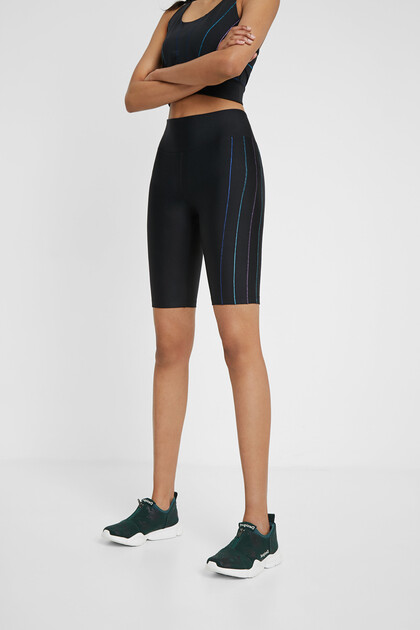 Cyclist leggings with vertical stripes