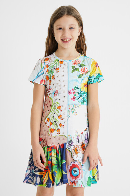 Dress floral patch flounce