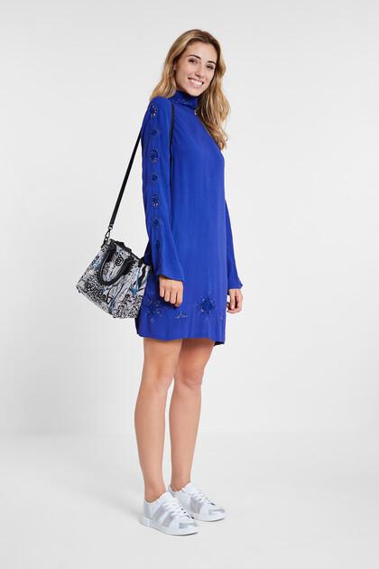 High collar viscose dress