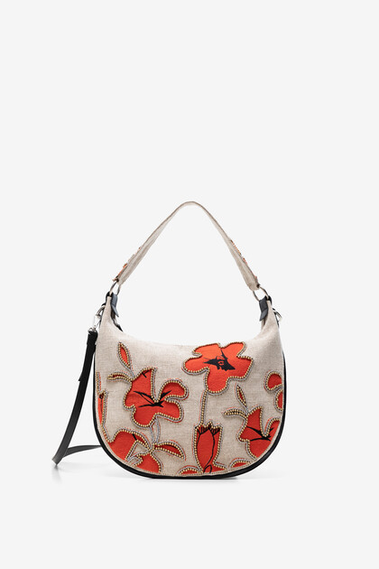 Rounded bag with hibiscus and pearls