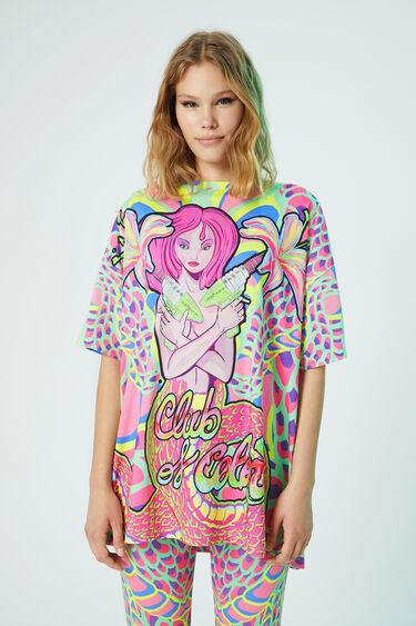 Lang T-shirt met fantasieprint | Desigual