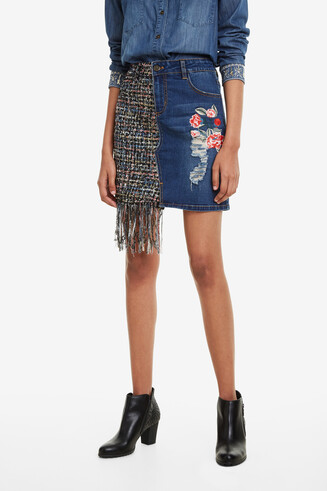 Denim Skirt with Tweed Patch Nadia