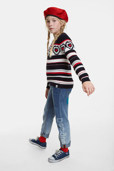 Knit jumper, striped with hearts | Desigual