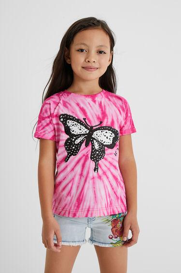 T-shirt met vlinder van omkeerbare pailletten | Desigual