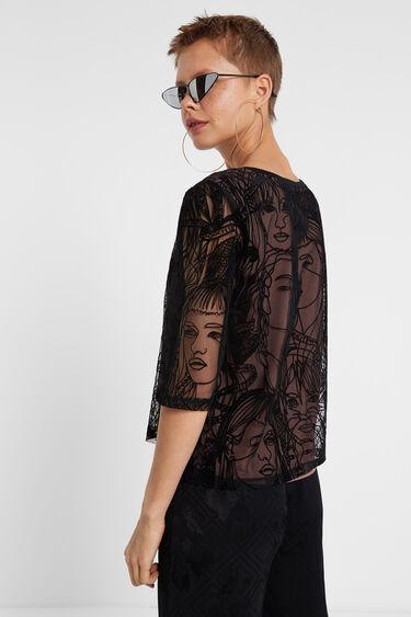T-shirt tulle effet velours | Desigual