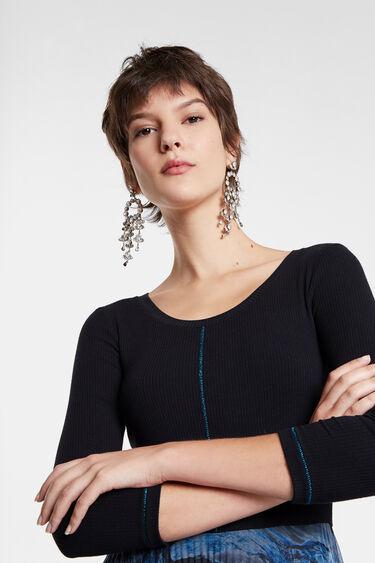 Vestido plisado cuello redondo | Desigual