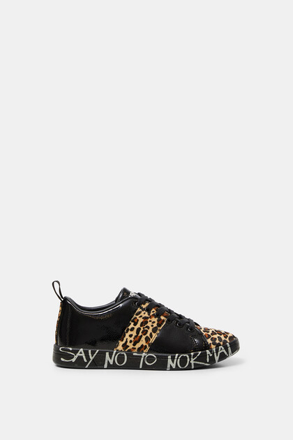 Patent leather sneakers animal print