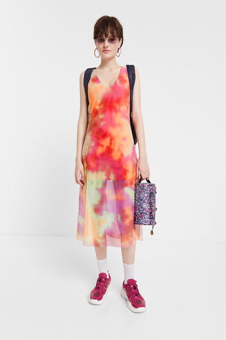 Tie-dye double layer flared dress