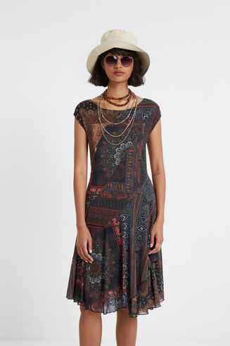 Ethnic patch dress