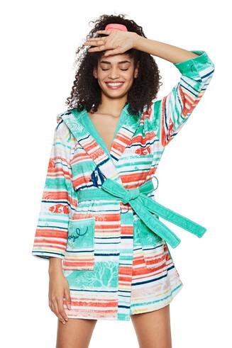 Striped cotton bathrobe - Under Sea