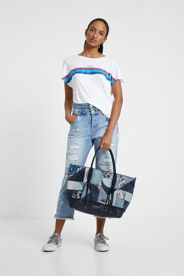 Blue patch shopping bag | Desigual