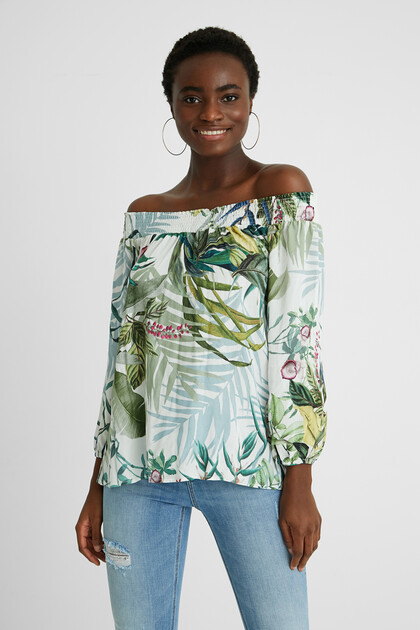 Tropical blouse boat neck