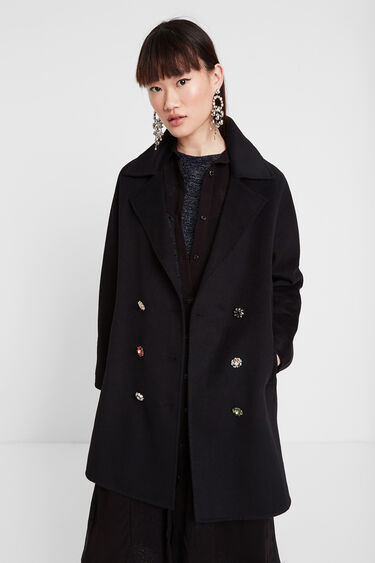 Double-breasted coat jewel buttons | Desigual