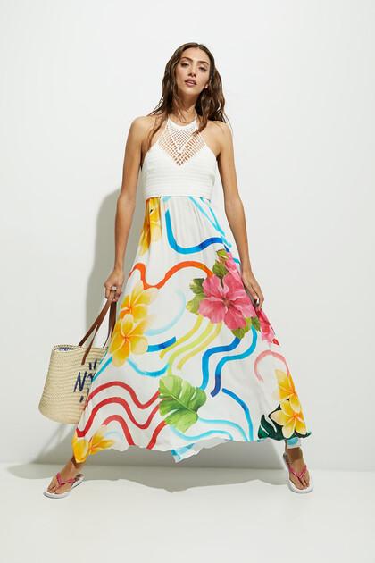 Lange jurk met tricot en bloemen