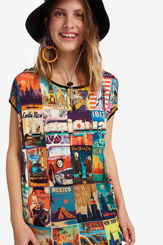 Loose viscose postcards T-shirt