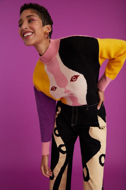 Short tricot print jumper
