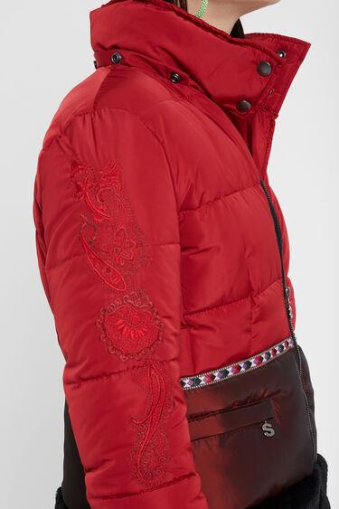 Bimaterial short jacket | Desigual