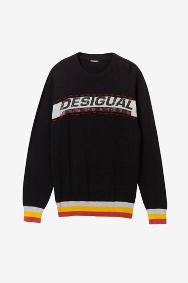 Sweater lettering hem and cuffs rib | Desigual