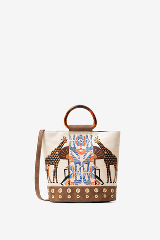 Shopping bag com bordado africano 2 em 1
