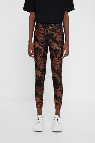 Floral ethnic cropped trousers