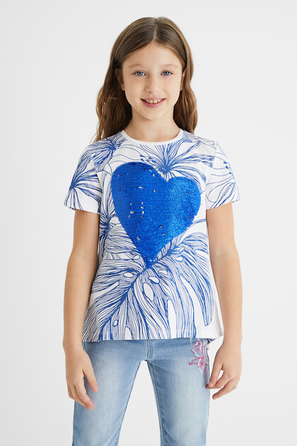 T-shirt heart reversible sequins