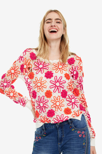 Chunky-knit floral jumper Helga