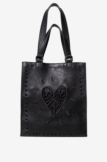 PU leather short handle shopping bag | Desigual