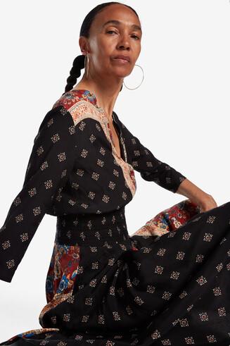 Asymmetrische jurk met patchwork