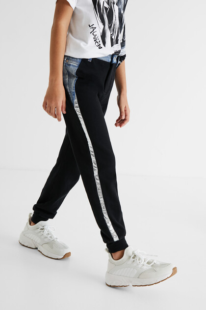 Bimaterial tracksuit bottoms