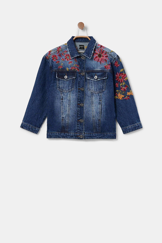 Oversize embroidered denim jacket - BLUE - 7/8