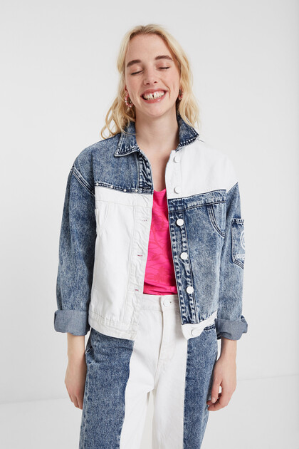 Bicolour patch jean jacket