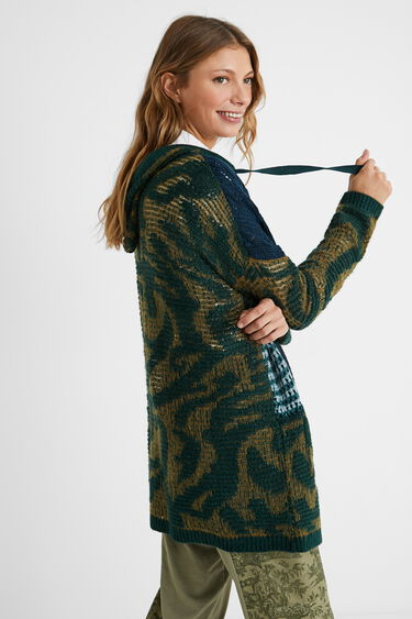 Hooded patch open jumper | Desigual