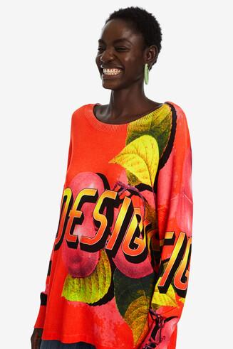 Oversized trui met kleurige print