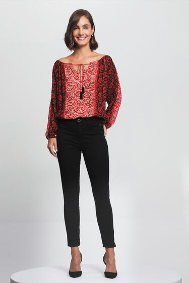 Loose boat neck blouse flowers | Desigual