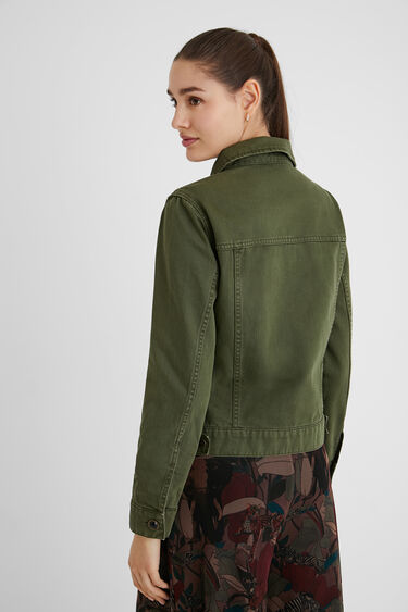 Slim denim jacket flowers | Desigual