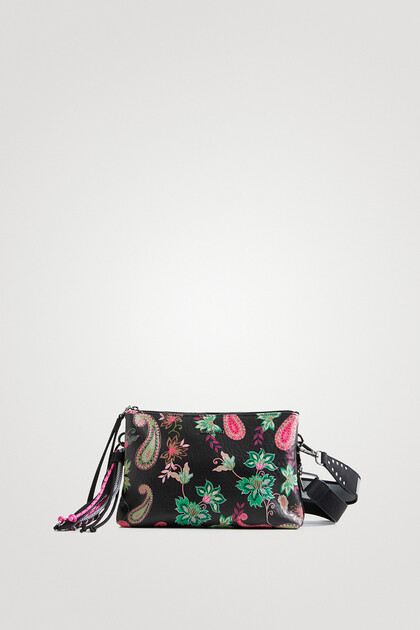 Sling bag leather effect print