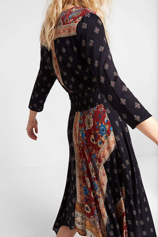 Long asymmetric patchwork dress | Desigual
