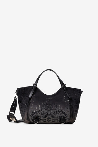 Floral embossed shoulder bag