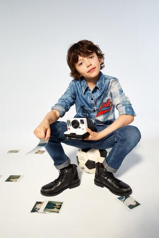 Mini-Me-Baumwollhemd mit optischer Täuschung
