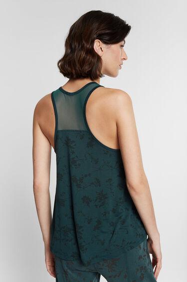 Koszulka eko na ramiączkach z siateczką i nadrukiem w kwiaty | Desigual