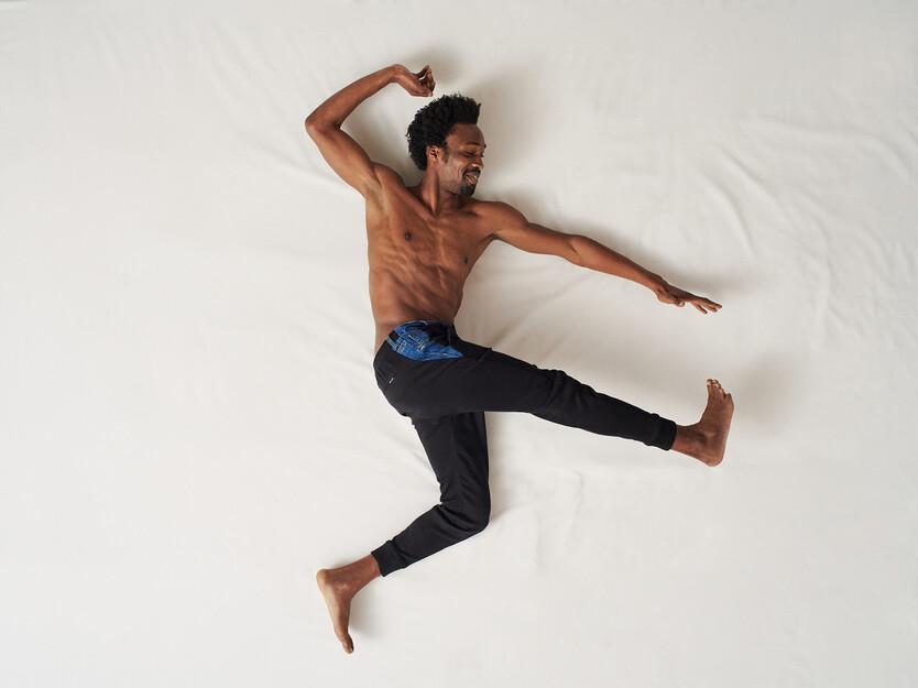 Korte fleece joggingbroek met spijkerstof