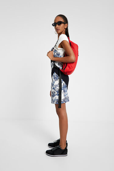 Short dress with patch and floral bands | Desigual