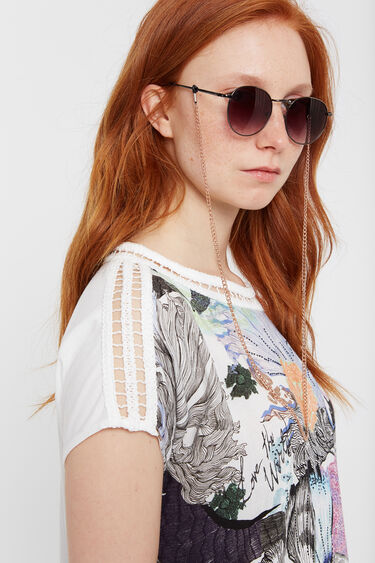 Japanese embossed and crochet T-shirt | Desigual
