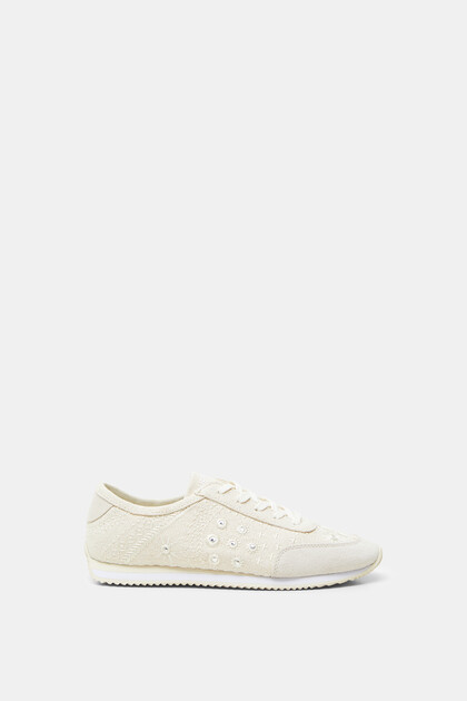 Leather sneakers embroidered