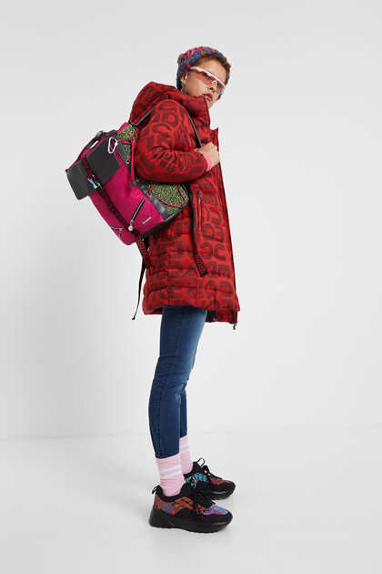 Long padded jacket letters