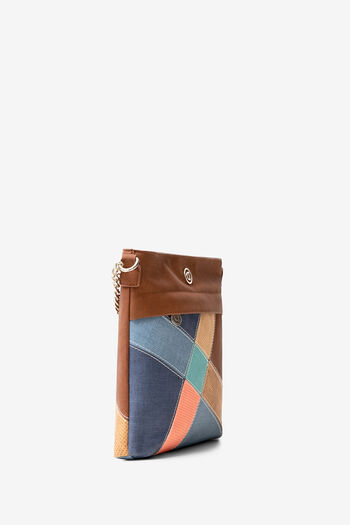 Square suede and patch sling bag | Desigual