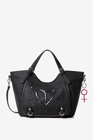 Zippers and heart shoulder bag