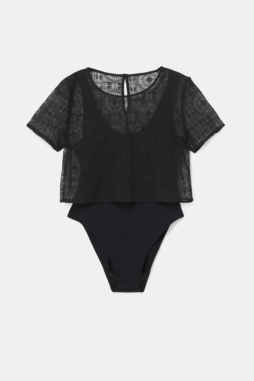 Body camiseta semitransparente - BLACK - XL
