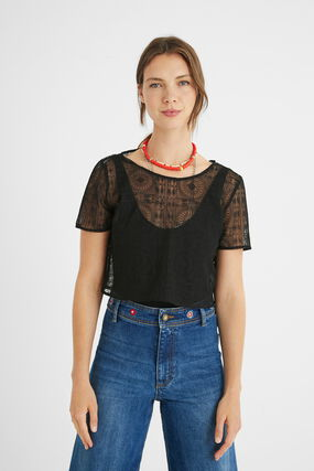 Semi-sheer T-shirt bodysuit